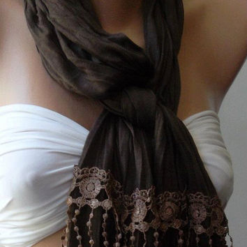 Brown / Elegant Shawl / Scarf