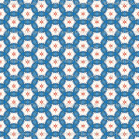 Acrylic Blue Orange Hexagon - heatherdoucette - Spoonflower