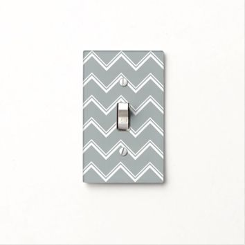 Grey Chevron Light Switch Cover