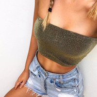 summer women sexy tube top girl bandeau boob strapless cami female shining off shoulder top camisole T1820