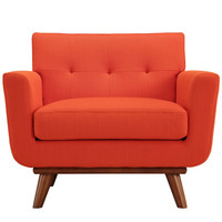 Fabric Upholstered Armchair with Rubberwood Legs