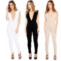 Summer Style Deep V Neck Front And Back Long Jumpsuit Black Plus Size Women Sexy Sleeveless Playsuits Clubwear Bandage Bodysuit