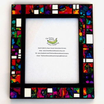 Mosaic Picture Frame, Large, 8 x 10 Picture Size, Black + Hand Painted Stained Glass, Handmade Mosaic Art Glass Picture Frame