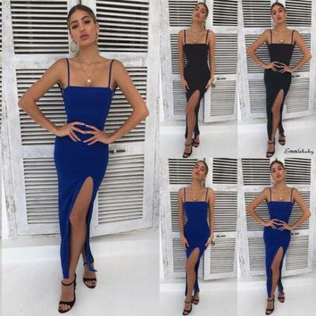 Sexy Women Solid Color High Side Slit Bodycon Spaghetti Strap Backless Fashion Hot Party Long Maxi Dress