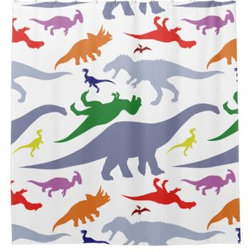 Colorful Dinosaur Pattern (Light) Shower Curtain