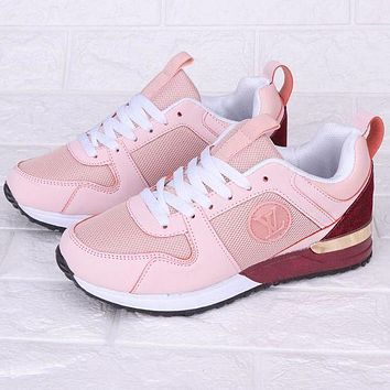 Louis Vuitton LV Fashionable Women Casual Sport Shoes Sneakers Pink/Burgundy