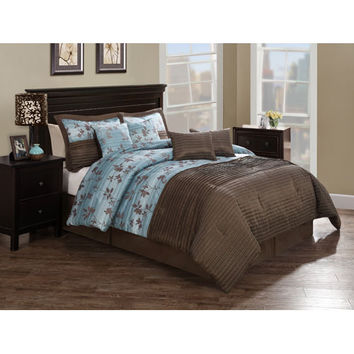 Pem America CS8249QN81300 Monroe Chocolate Aqua Pleat Queen Comforter Set with Four Bonus Pillows