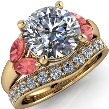 Adrenne Round Moissanite 4 Prong Double Padparadscha Sapphire Marquise Side Ring