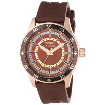 Invicta 14335 Men's Specialty Brown Dial Rose Gold Steel Brown Rubber Strap Watch