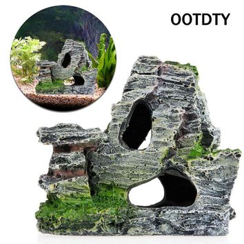 Mountain View Aquarium Decoration Moss Tree House Resin Cave Fish Tank Ornament Decoration Landscap Decor accessories Acuarios