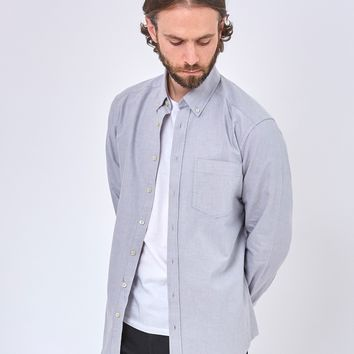The Idle Man Relaxed Modern Fit Oxford Shirt Grey
