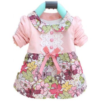Spring Aumtum Fashion Mini Dress Floral Long Sleeve Doll Collar Baby Girls Dress 0-24M Bow Clothes Dresses