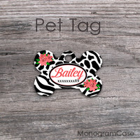 Zebra giraffe print flowers animal pattern pet tag