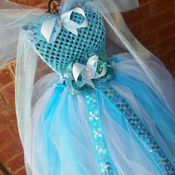 Unique Frozen Elsa Tutu Dress Costume Birthday Full Includes Hair Piece Bow Anna Matching