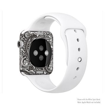 The Black & White Pasiley Pattern Full-Body Skin Kit for the Apple Watch