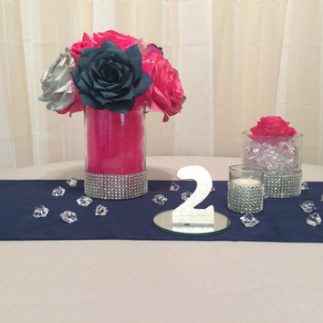 navy blue hot pink and silver wedding table centerpieces recep