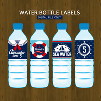 Nautical Water Bottle Labels- Sailor Boy Ahoy Printable Water Bottle Labels for Birthday or Baby Shower