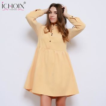 2018 Autumn Winter Drop Waist A Line Dress Women Peter pan Collar Long Sleeve dress Vestidos Swing dress Casual With Button