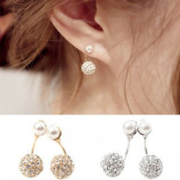 Silver Hot Fashion Jewelry Full Front & Back Double Star Models Simulated Pearl Ball Crystal Earrings Hanging Stud Earrings