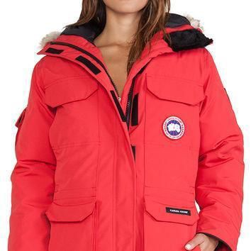 Canada Goose Expedition Parka With Coyote Fur Trim In Red| Best Deal Online