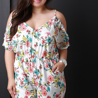 Floral Cold Shoulder Ruffle Sleeve Romper