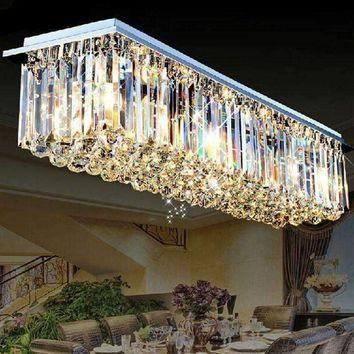Rectangular crystal lamp LED bar counter crystal chandelier restaurant lights modern living room lights hall aisle ceiling lamp