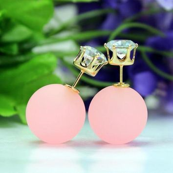 CREYUP0 Fashion Candy Color Sided Eraser Bead Earring