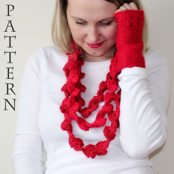 PATTERN Valentine scarf abstract heart infinity/lariat scarf and matching mittens