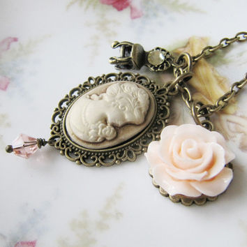 Cameo necklace - peach flower necklace - vintage style - handmade - for her - romantic jewelry - Europe