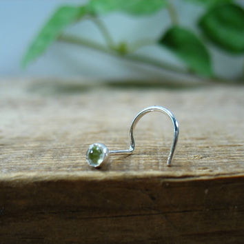 Nose Stud Screw Hook Peridot Sterling Silver