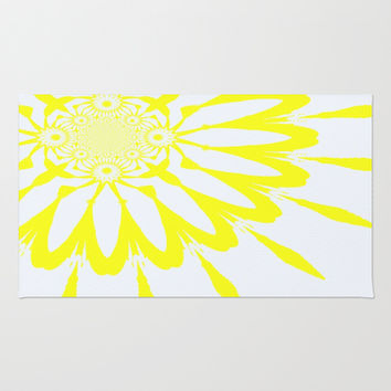 Yellow & White Modern Flower Area & Throw Rug by 2sweet4words Designs