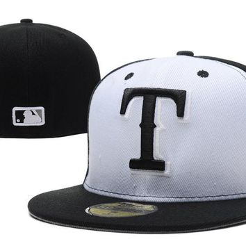 hcxx Texas Rangers New Era 59FIFTY MLB Hat Black-White