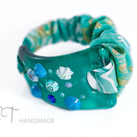Teal bracelet Murano glass and cloth-unique handmade glass wide bracelet-flower bracelet-italian artisan designer bracelet-gift for her idea