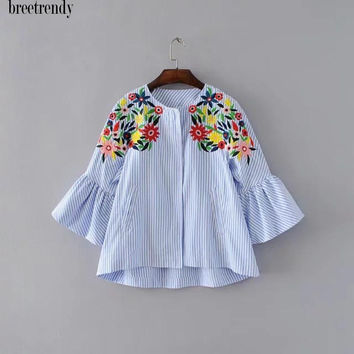 X826 fashion women sweet blue striped floral embroidery flare sleeve jacket ladies match all autumn jackets streetwear coat