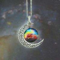 Moon Necklace & Pendant  Jewelry Glass Galaxy Lovely Silver Chain