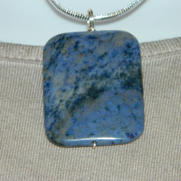 80ct. Mixed Blue Stone, Semi Precious, Agate, Pendant, Necklace, Rectangle, Natural Stone, 102-15