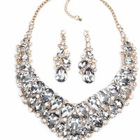 LOVFASHION Bridal Necklace Earrings Set, Fashion Crystal Collar Choker Necklace Dangle Earrings for Women Wedding Bridal