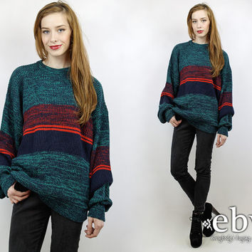 Oversized Sweater Oversized Knit Oversized Jumper Teal Sweater Striped Jumper Rugby Sweater Vintage Teal Navy Red Striped Sweater XL