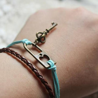 antique heart lock and key bracelet -Skeleton Key bracelet-skyblue waxed cotton braclet -lock and key  charm bracelet