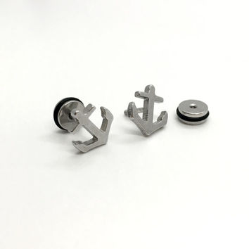 Anchor Stud Earrings, Surgical Steel Anchor Earrings, 16g Post Earrings, men's earrings, steel earrings, fake ear plugs, Stretcher Earrings