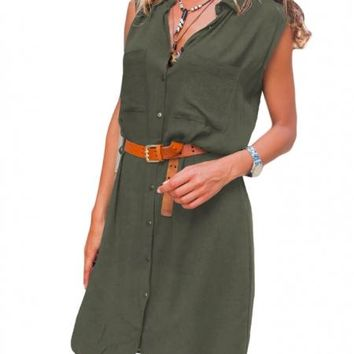 Army Green Pockets Buttoned Sleeveless Shirt Dress