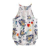 Summer New Women Floral Printed Camis Casual Sleeveless Crop Top Vest Tank Shirt Multicolor Blouse Cami Top Strappy