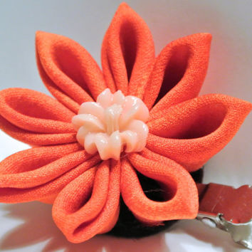 Orange kimono fabric kanzashi hair flower clip cream colored lily cabochon center