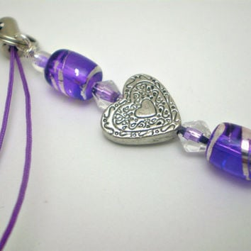 Silver Heart Cell Phone Charm in Purple by justByou on Etsy