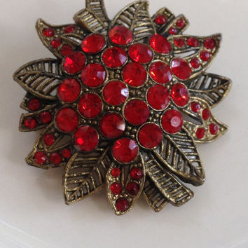 Poinsettia Art Deco Brooch Red Rhinestone Little Nemo Pot Metal Christmas Dazzling Vintage Accessory
