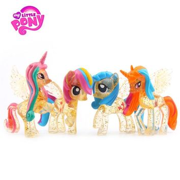 4pcs/Set Hasbro My Little Pony Toys Friendship Is Magic PVC Action Figures Set Collectible Model Dolls Christmas New Year's Gift