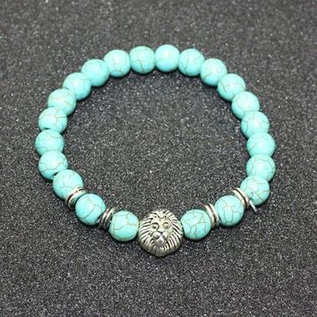 8mm Natural Turquoise Stone Beads Bracelet for Women,Antique Silver and Gold Lion/Buddha/Leopard/Skull Bracelets Mens Jewelry vintage silver lion