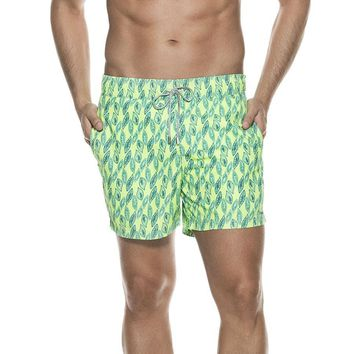 OndadeMar Mens Bicollage Swimwear Neon Green Floral Print Aloha Fit Swim Shorts