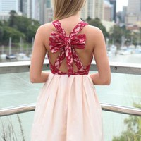 Light Pink Bow Back Dress with Red Lace Keyhole Bodice