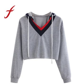 Feitong Women Cropped Sweatshirts Casual Long Sleeve Patchwork Hooded Short Sweatshirt Tops Sweatshirt sudaderas mujer 2017 New